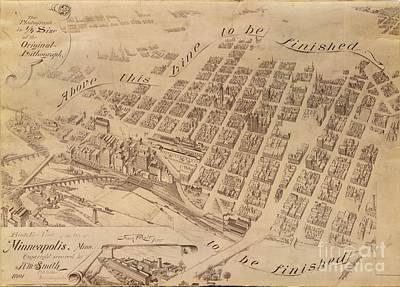 Drawing - Minneapolis 1891 by A K Dayton