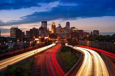 Headlight Photograph - Minneapolis  M N Skyline by Steve Gadomski