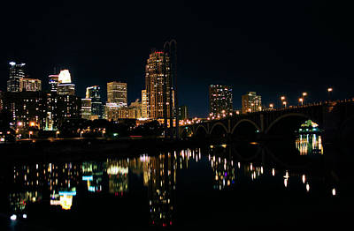 Photograph - Minneapolis Night Skyline by Kristin Elmquist