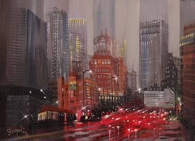 Night City Painting - Minneapolis Rain by Tom Shropshire