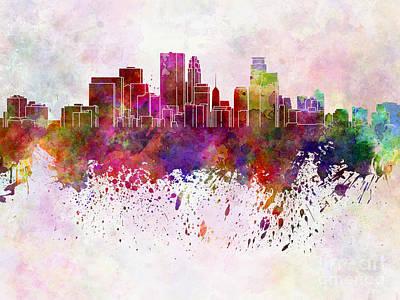 Minneapolis Skyline Painting - Minneapolis Skyline In Watercolor Background by Pablo Romero