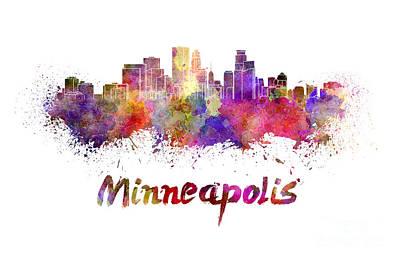 Minneapolis Skyline Painting - Minneapolis Skyline In Watercolor by Pablo Romero