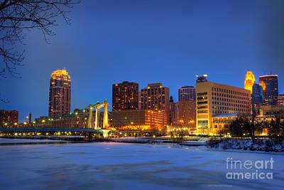 Minneapolis Skyline Photograph - Minneapolis Skyline Photography Hennepin Avenue Bridge by Wayne Moran