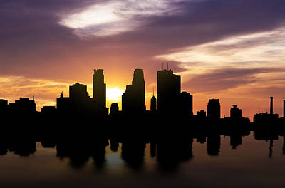 Usa United States Mixed Media - Minneapolis Sunset Skyline  by Aged Pixel