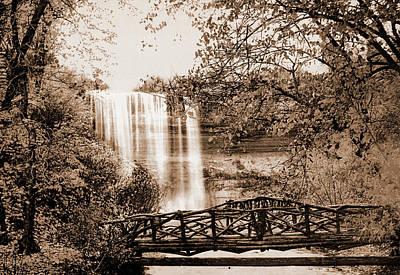 Minnehaha Falls Drawing - Minnehaha Falls, Minneapolis, Minnesota, Waterfalls by Litz Collection