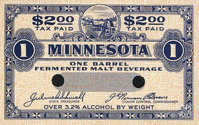 Tax Photograph - Minnesota Beer Tax Stamp by Jon Neidert