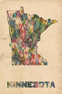 Painting - Minnesota Map Vintage Watercolor by Florian Rodarte