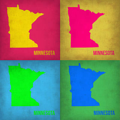 Modern Poster Painting - Minnesota Pop Art Map 1  by Naxart Studio