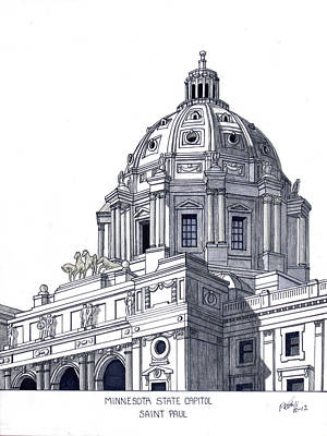 Drawing - Minnesota State Capitol by Frederic Kohli