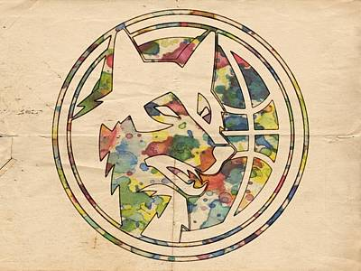 Dunk Painting - Minnesota Timberwolves Logo Art by Florian Rodarte