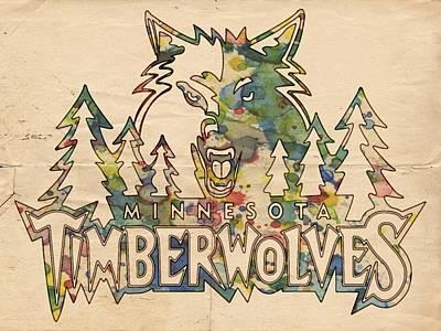 Painting - Minnesota Timberwolves Poster Art by Florian Rodarte