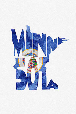 Abstract Map Mixed Media - Minnesota Typographic Map Flag by Ayse Deniz