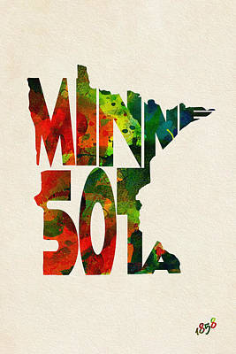 Minnesota Typographic Watercolor Map Print by Ayse Deniz