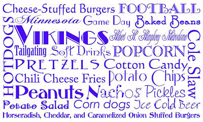 Digital Art - Minnesota Vikings Game Day Food 1 by Andee Design