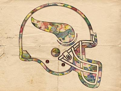Painting - Minnesota Vikings Helmet Art by Florian Rodarte