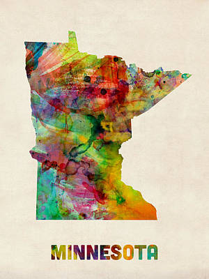 Minnesota Watercolor Map Art Print by Michael Tompsett
