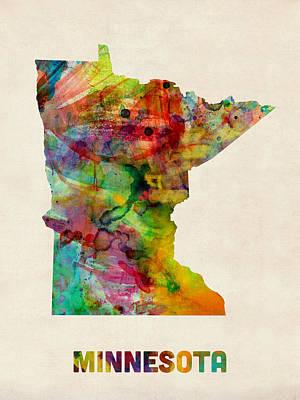 Digital Art - Minnesota Watercolor Map by Michael Tompsett