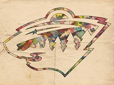 Painting - Minnesota Wild Hockey Poster by Florian Rodarte