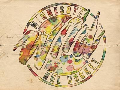 Painting - Minnesota Wild Retro Poster by Florian Rodarte