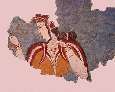 Minoan Photograph - Minoan Wall Painting by Ellen Henneke