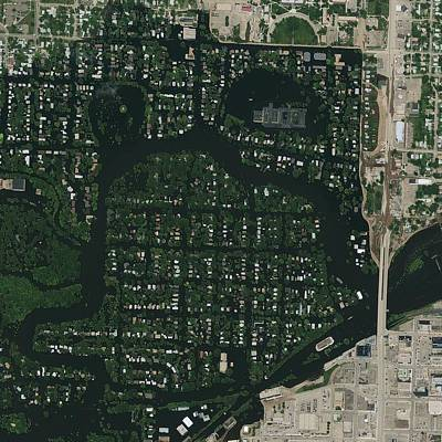 Minot Flooding, Usa, Satellite Image Art Print by Science Photo Library