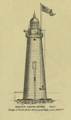 Ocean Scenes Drawing - Minot's Ledge Lighthouse by Jerry McElroy - Public Domain Image