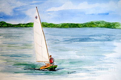 Painting - Mint Design Classic Moth Sailboat  by Nancy Patterson