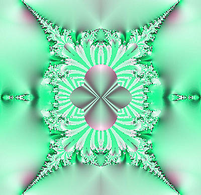 Mint Digital Art - Mint Green With Rose Balanced Abstract. by Linda Phelps