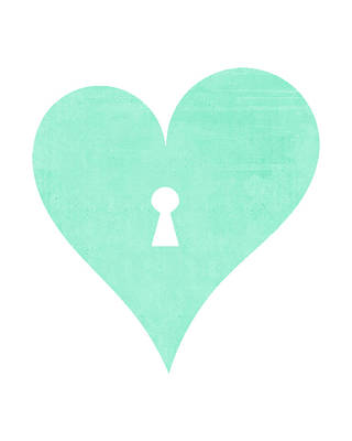 Ampersand Painting - Mint Heart Lock by Tara Moss
