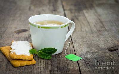 Mint Tea With Cookie Art Print