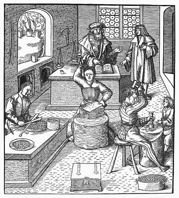 Furnace Painting - Minting Coins, C1515 by Granger
