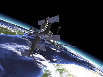 Mir Russian Space Station In Orbit Art Print by Leonello Calvetti