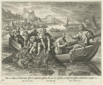 Resurrection Drawing - Miraculous Fishing, Cornelis Galle I, Adriaen Collaert by Cornelis Galle (i) And Adriaen Collaert