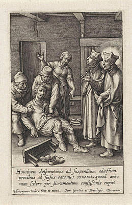 Miraculous Drawing - Miraculous Healing By Ignatius Loyola Of A Man Who Hanged by Hieronymus Wierix