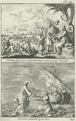 Miraculous Drawing - Miraculous Multiplication Of Loaves And Fishes By Christ by Jan Luyken And Jan Claesz Ten Hoorn