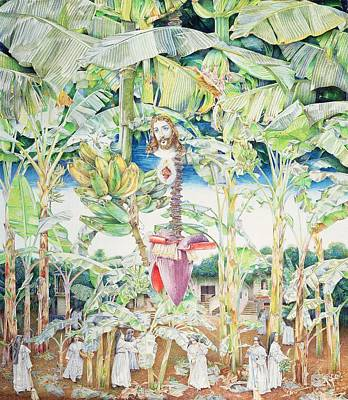 Miraculous Vision Of Christ In The Banana Grove, 1989 Oil On Canvas Art Print