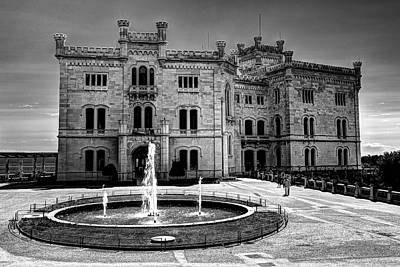 Photograph - Miramare Castle Bw by Ivan Slosar