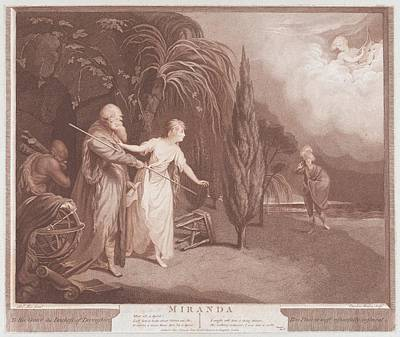 Stipple Drawing - Miranda Shakespeare, The Tempest, Act by After Robert Edge Pine
