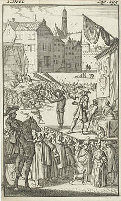 Charlatan Drawing - Mirandors Brother Employed By A Quack, Who Is Trying by Caspar Luyken And Pieter Van Rijschooten