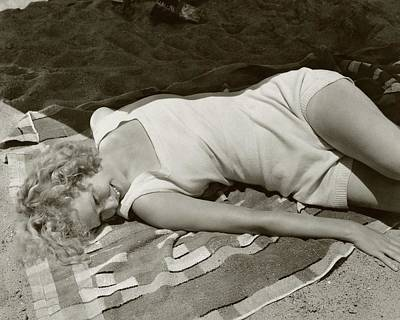 Miriam Hopkins At The Beach Art Print by Edward Steichen