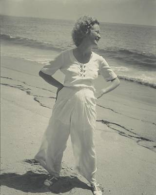 Photograph - Miriam Hopkins On A Beach by Edward Steichen
