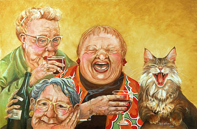 Funny Cat Painting - Miriam's Tea Party by Shelly Wilkerson