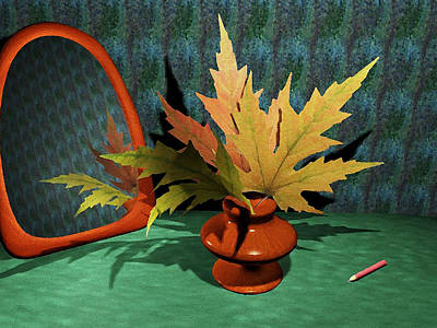 Mirror And Leaves Print by Anastasiya Malakhova