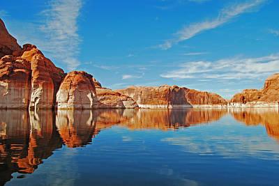 Cloud Like Glass Photograph - Lake Powell Mirror Image by Robert VanDerWal