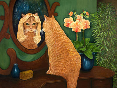 Art Print featuring the painting Mirror Mirror On The Wall by Karen Zuk Rosenblatt