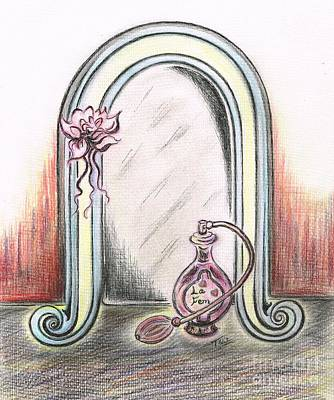 Lilies Drawings - Mirror of Beauty by Teresa White