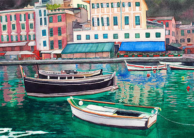 Portofino Italy Painting - Mirror Of Calm Waters by Jeannine Marx Fruci