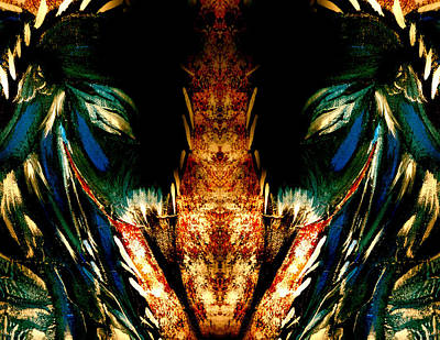 Woman And Owl Painting - Mirrored Blue Heron Woman by Jeannine Sandoval