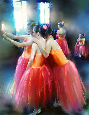 Ballet Dancers Mixed Media - Mirrored Coral Dancers In Light by Donna Aloia