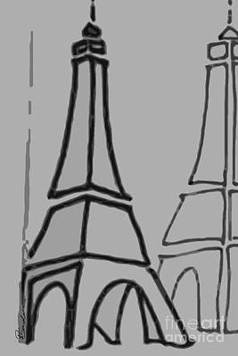 Drawing - Mirrored Eiffel Tower by Robyn Saunders
